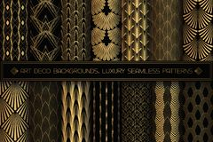 Art Deco Patterns. Seamless Black And Gold Backgrounds. Stock Images