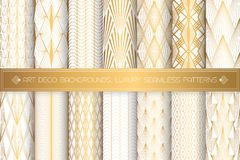 Art Deco Patterns. Seamless White And Gold Backgrounds Stock Photos