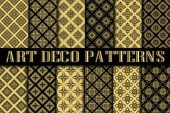 Art Deco Patterns. Set. Vintage backgrounds. Fan scales ornaments. Geometric decorative digital papers. Vector line design. 1920-30s motifs. Luxury vintage Stock Image
