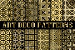 Art Deco Patterns. Set. Vintage backgrounds. Fan scales ornaments. Geometric decorative digital papers. Vector line design. 1920-30s motifs. Luxury vintage Stock Photography