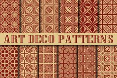 Art Deco Patterns. Set. Vintage backgrounds. Fan scales ornaments. Geometric decorative digital papers. Vector line design. 1920-30s motifs. Luxury vintage Royalty Free Stock Photography