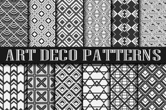 Art Deco patterns. Vintage ornamental seamless patterns set in Art Deco style Stock Photo
