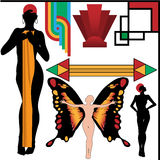 Art Deco People Poses and Design Elements Set