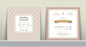 Art Deco Poślubia zaproszenie kartę w złocie i menchiach Fotografia Stock