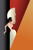 Art Deco projektował Hiszpania Flamenco tancerza Zdjęcia Stock