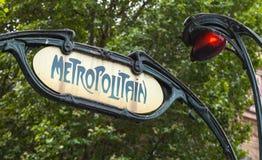 Art Deco projektował znaka ulicznego, Paryski metro Zdjęcie Royalty Free