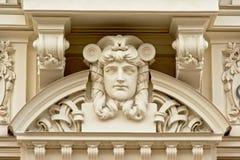 Art Deco projektuje dekoracje z smutną mężczyzna ` s twarzą Obrazy Stock