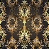 Art Deco projektuje geometrycznego bezszwowego wzór w czerni i złocie Vec Zdjęcie Royalty Free