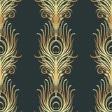 Art Deco projektuje geometrycznego bezszwowego wzór w czerni i złocie Vec Zdjęcia Stock