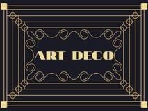 art deco rama Art Deco rocznika geometryczna rama Retro stylowi półdupki Obrazy Royalty Free