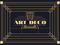art deco rama Art Deco rocznika geometryczna rama styl retro tło Obrazy Stock