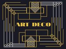 art deco rama Art Deco rocznika geometryczna rama styl retro tło Stylowi 1920s, 1930s Zdjęcie Royalty Free