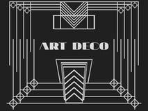 art deco rama Art Deco rocznika geometryczna rama styl retro tło Stylowi 1920's, 1930's Zdjęcie Stock