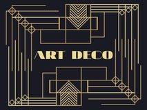 art deco rama Art Deco rocznika geometryczna rama styl retro tło Stylowi 1920s, 1930s wektor Obrazy Stock