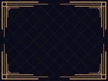 art deco rama Rocznik liniowa granica Projektuje szablon dla zaproszeń, ulotek i kartka z pozdrowieniami, Zdjęcie Royalty Free