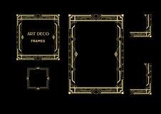Art Deco ramar för att gifta sig inbjudningar, kort och affischer Arkivfoto
