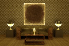 Art Deco revival style lounge. Royalty Free Stock Photos
