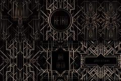 Art Deco rocznik deseniuje i ramy Retro partyjny geometryczny plecy Obrazy Stock