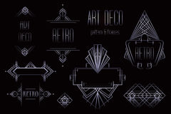 Art Deco rocznik deseniuje i ramy Retro partyjny geometryczny plecy Ilustracja Wektor