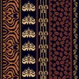 Art Deco rocznika jedwabnicza tapeta z etnicznymi motywami i artystycznymi elementami Obraz Stock