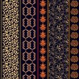 Art Deco rocznika jedwabnicza tapeta z etnicznymi motywami i artystycznymi elementami Zdjęcie Royalty Free