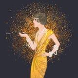 Art Deco rocznika zaproszenia szablonu projekt z ilustracją Obraz Stock