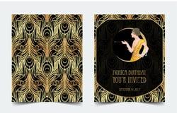 Art Deco rocznika zaproszenia szablonu projekt z ilustracją Obrazy Royalty Free