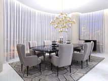 Art deco room for negotiations, with a table and luxurious armchairs for eight people and a large gilded chandelier and large. Panoramic windows and tulle. 3d stock illustration
