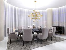 Art deco room for negotiations, with a table and luxurious armchairs for eight people and a large gilded chandelier and large. Panoramic windows and tulle. 3d vector illustration