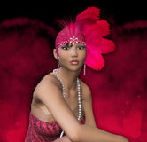Art Deco 1920's Fantasy Flapper Girl Portrait Royalty Free Stock Photography