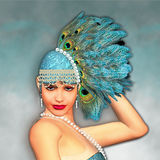 Art Deco 1920's Fantasy Flapper Girl Portrait. Fantasy poser image, peacock feathers Royalty Free Stock Image
