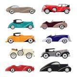 Art Deco samochodu transportu i art deco samochodu samochodowy wektorowy retro luksusowy nowożytny ilustracyjny ustawiający stary ilustracji