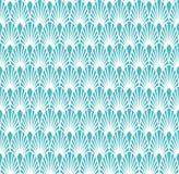 Art Deco Seamless Background bleu abstrait Modèle géométrique d'échelle de poissons Photo libre de droits