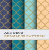 Art Deco seamless pattern 31. Art Deco seamless pattern with 4 colours background Royalty Free Stock Images