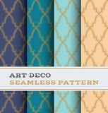 Art Deco seamless pattern 36. Art Deco seamless pattern with 4 colours background Royalty Free Stock Image