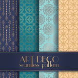 Art Deco seamless pattern. With 4 colours background Royalty Free Stock Photo