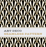 Art Deco Seamless Pattern Black White And Gold Colours 01 Royalty Free Stock Photos