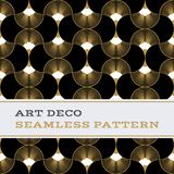 Art Deco seamless pattern black white and gold colours 06. Art Deco seamless pattern with black white and gold colours, Deco pattern background Stock Photos