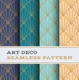 Art Deco seamless pattern 11. Art Deco seamless pattern with 4 colours background Royalty Free Stock Photo
