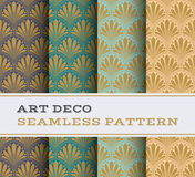 Art Deco seamless pattern 19. Art Deco seamless pattern with 4 colours background Stock Photo