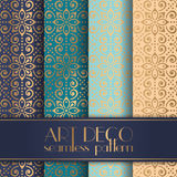 Art Deco seamless pattern. With 4 colours background Stock Photography