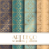 Art Deco seamless pattern. With 4 colours background Stock Photo