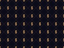 Art deco seamless pattern with dollar sign. Gold color, wealth and status 1920s, 1930s. Vector. Illustration Royalty Free Stock Image
