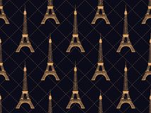 Art deco seamless pattern with eiffel tower. Gold color. Places of interest in Paris, France. Style of the 1920s - 1930s. Vector illustration Royalty Free Stock Image