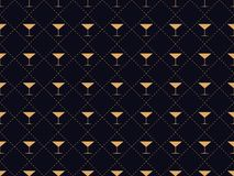 Art deco seamless pattern with a glass of martini. Alcohol cocktail style of the 1920s - 1930s stock illustration