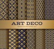 Art deco seamless pattern. Luxury geometric nouveau wallpaper, elegant classic retro ornament. Vector golden abstract stock illustration