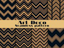Art deco seamless pattern. Set retro backgrounds, gold and black color. Style 1920`s, 1930`s. Lines and geometric shapes. Vector illustration royalty free illustration