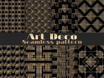 Art deco seamless pattern. Set retro backgrounds, gold and black color. Style 1920`s, 1930`s. Vector. Illustration Stock Illustration