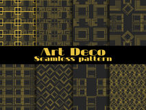 Art deco seamless pattern. Set retro backgrounds, gold and black color. Style 1920`s, 1930`s. Vector. Illustration Royalty Free Illustration