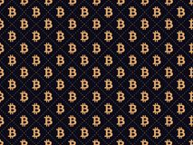 Art deco seamless pattern with sign Bitcoin. Gold color. Style of the 1920s - 1930s. Vector. Illustration Royalty Free Stock Photography